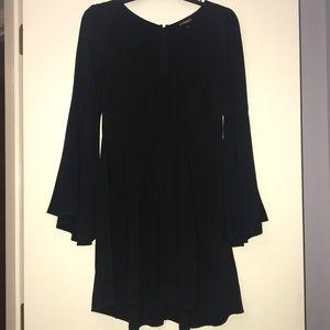 Express bell sleeve black dress